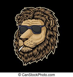 Lion Head Smoke vector illustration