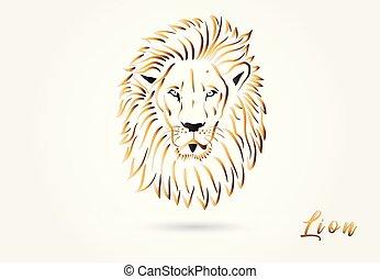 Lion head stylized logo vector image design