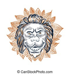 Lion head surrounded with leaves vector sketch.