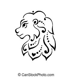 Lion head tattoo or logo.