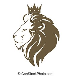 Lion head with crown logo, royal cat profile. Golden luxury...