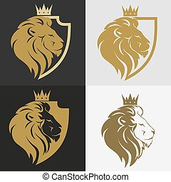 Lion head with crown logo