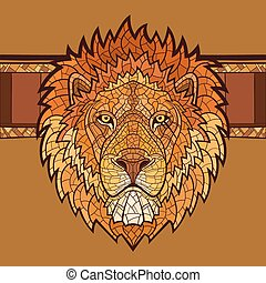 Lion head with ethnic ornament