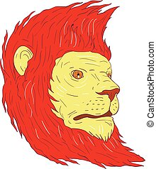 Lion Head With Flowing Mane Drawing