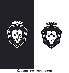 Lion head with king crown logo