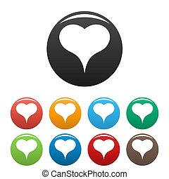 Lion Heart icons set color - Lion Heart icon. Simple ...