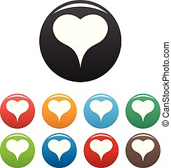 Lion Heart icons set color vector - Lion Heart icon. Simple ...