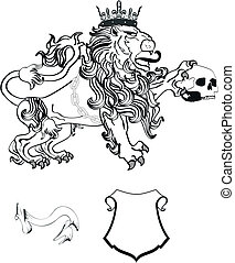 lion heraldic coat of arms tattoo8