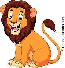 lion, heureux, dessin animé, séance