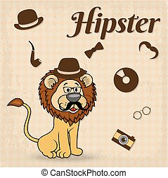Lion-Hipster With Moustaches - Lion-hipster with moustaches...