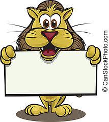 Lion holding sign