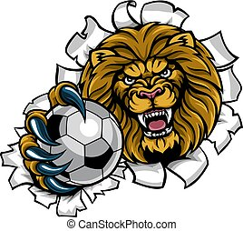 Lion Holding Soccer Ball Breaking Background