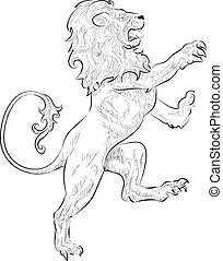 A vector illustration of a rampant (standing on hind legs) lion