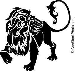 Lion Illustration - Monochrome vector illustration of a...