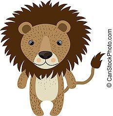 Lion, illustration, vector on white background.