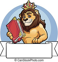 Lion in a crown with a big book