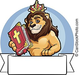 Lion in a crown with the Bible