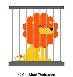 Lion in cage. Leo at zoo. Vector illustration