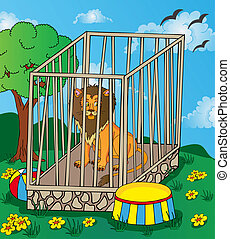 Lion in cage - vector illustration.