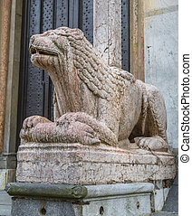 lion in front of the Cathedral of Cremona - Sculpture of a...
