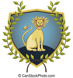 Lion in laurel wreath - Lion on a shield surrounded by a...