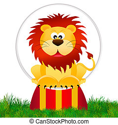 Lion in the circo - illustration of lion in the circo