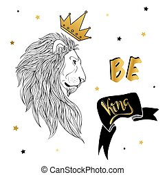 Lion in the crown with slogan print