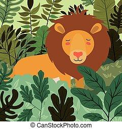lion in the jungle scene