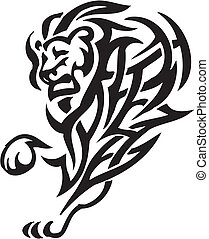 Lion in tribal style - vector illustration