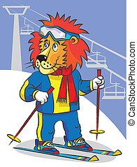 Lion is mountain skier