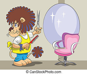 Lion is the hairdresser and stylist - The smiling lion is ...