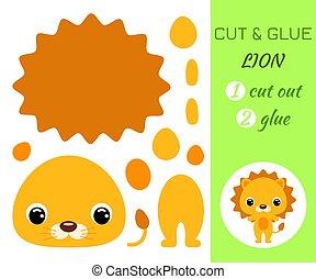 lion., jeu, pédagogique, papier, coupure, colle, préscolaire, children., bébé