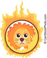 Lion jumping through a ring of fire in the circus icon flat style , isolated on white background. Vector illustration.