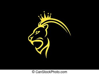 lion king crown abstract vector logo