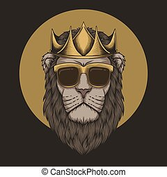 Lion king crown head vector illustration