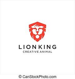Lion King Logo Design. Angry lion king head logo design mascot. Animal, danger, head, logo, tiger, wild, icon
