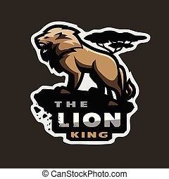 Lion king of beasts, logo, emblem on a dark background.