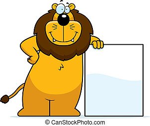 A happy cartoon lion leaning against a sign.