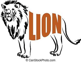 LION lettering illustration