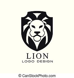 Lion logo, classic vintage style design element, shield with heraldic animal, black and white vector Illustration on a white background