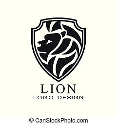 Lion logo, classic vintage style design element, shield with heraldic animal, monochrome vector Illustration on a white background