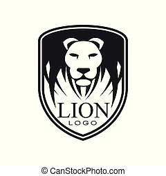 Lion logo, classic vintage style design element, shield with heraldic animal vector Illustration on a white background