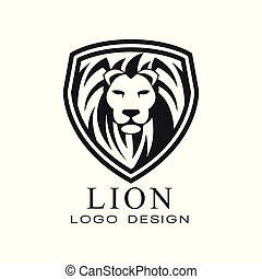 Lion logo design, classic vintage style element for poster, banner, embem, badge, tattoo, t shirt print vector Illustration on a white background