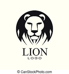 Lion logo design, emblem with head of wild animal for poster, banner, embem, badge, tattoo, t shirt print, classic vintage style vector Illustration on a white background