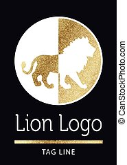 lion logo in golden