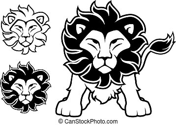 lion logo - lion front view and head designs isolated on ...