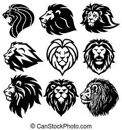 Lion Logo Set Collection. Premium Design Vector Illustration