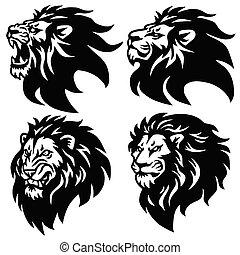 Lion Logo Set. Premium Mascot Design Collection. Vector Illustration