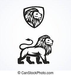 Lion logo sport mascot emblem vector design illustration