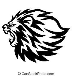 Lion Logo Template. Vector Line Art Illustration